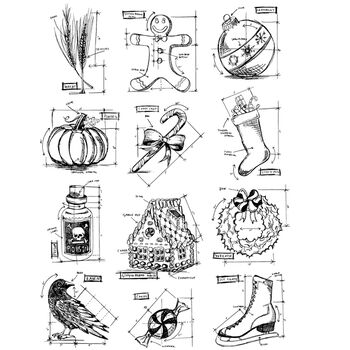 Stampers Anonymous Large Cling Rubber Stamp Set Mini Blueprints #5