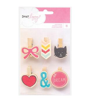 American Crafts Dear Lizzy Daydreamer Wood Clothespins