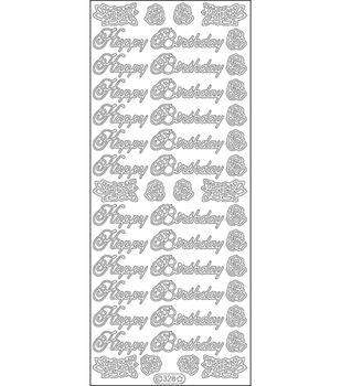 "Happy Birthday Large Peel Off Stickers 4""X9"" Sheet-Black"