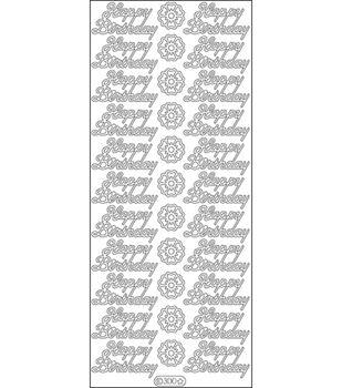 "Happy Birthday Peel Off Stickers 4""X9"" Sheet-Gold"