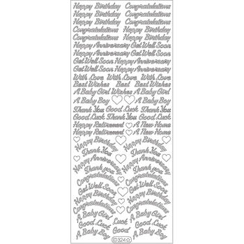 Elizabeth Craft Assorted Words Peel Off Stickers Sheet