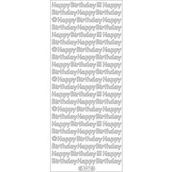 Elizabeth Craft Happy Birthday Peel Off Stickers Sheet