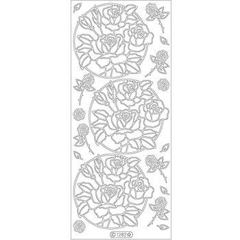 Elizabeth Craft Circle Of Roses Peel Off Stickers Sheet