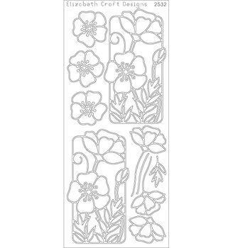 Elizabeth Craft Flowers in Frame Poppy Peel Off Stickers Sheet - Black