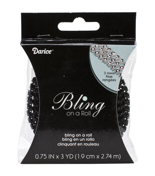 Bling On A Roll 4mmX3yd-3 Rows, Black & Silver