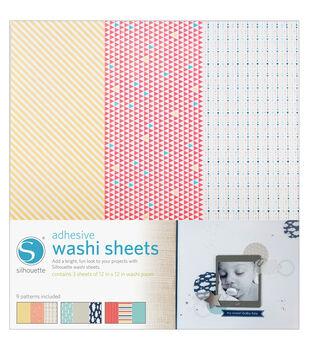 "Silhouette Adhesive-Back Washi Paper 12""X12"" 3/Pkg-9 Designs, Each 4""X12"""