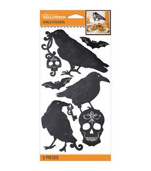 Jolee's Halloween Stickers 5/Pkg-Black & White Chalk silhouette