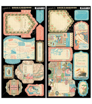 """Come Away With Me Cardstock Die-Cuts 6""""X12"""" Sheets 2/Pkg-Tags & Pockets"""