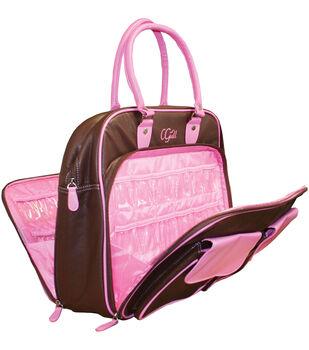 C-Gull Cricut Cartridge Leather Storage Tote-Brown & Pink