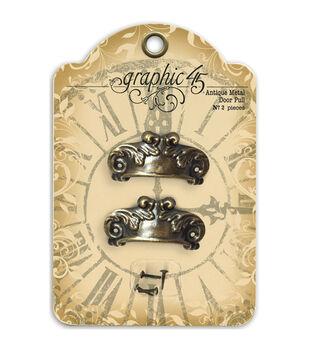 Staples Ornate Metal Door Pulls 2/Pkg-Antique Brass With 4 Brads