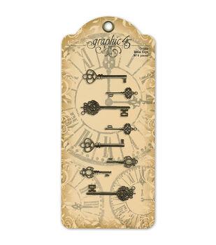 Staples Ornate Metal Keys 8/Pkg-Antique Brass 4 Styles/2 Each