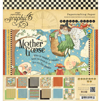 Graphic 45 Mother Goose Double-Sided Paper Pad 8''x8''