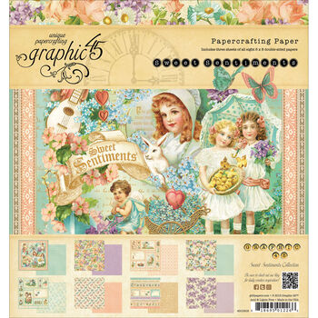 Graphic 45 Sweet Sentiments Double-Sided Paper Pad 8''x8''