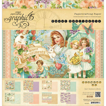 Graphic 45 Sweet Sentiments Double-Sided Paper Pad 12''x12''