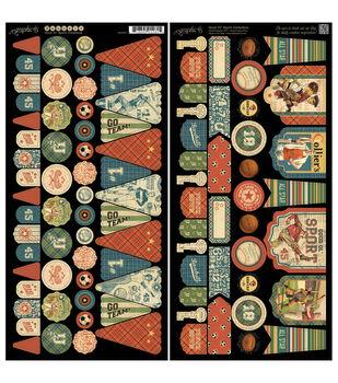 "Good Ol' Sport Cardstock Die-Cuts 6""X12"" Sheets 2/Pkg-Banners"