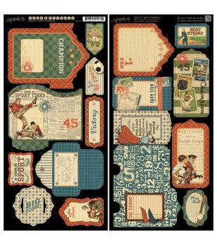 "Good Ol' Sport Cardstock Die-Cuts 6""X12"" Sheets 2/Pkg-Tags & Pockets"