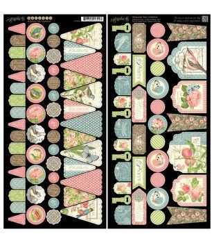 "Botanical Tea Cardstock Die-Cuts 6""X12"" Sheets 2/Pkg-Banners"