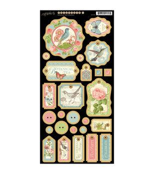 """Botanical Tea Chipboard Die-Cuts 6""""X12"""" Sheet-Tags #1"""