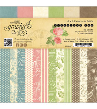 """Botanical Tea Double-Sided paper Pad 6""""X6""""-36 Sheets -12 Pattern/Solid Designs, 3ea"""