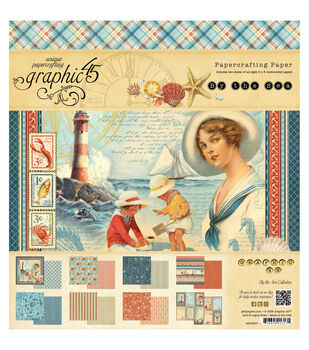"""By The Sea Double-Sided paper Pad 8""""X8""""-24 Sheets - 8 Designs, 3 Each"""