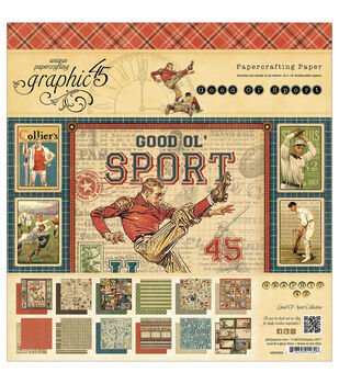 """Good Ol' Sport Double-Sided paper Pad 12""""X12""""-24 Sheets -12 Designs, 2ea"""