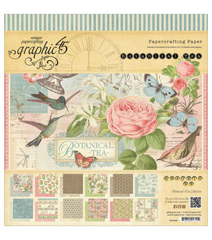 "Botanical Tea Double-Sided paper Pad 12""X12""-24 Sheets -12 Designs, 2ea"
