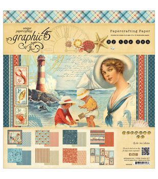 """By The Sea Double-Sided paper Pad 12""""X12""""-24 Sheets - 8 Designs, 3 Each"""
