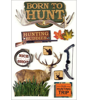 Paper House Hunting 3-D Stickers-Born To Hunt