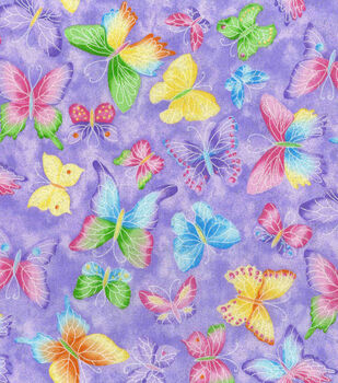 Novelty Cotton Fabric Butterfly Glitter Purple