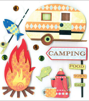 K&Company Dimensional Stickers-Camping