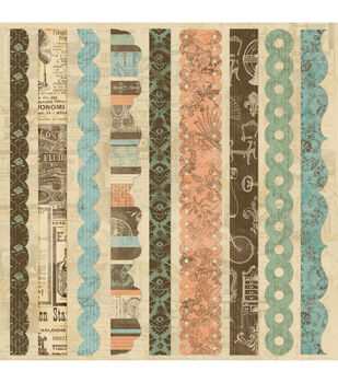 "Grandma's Attic Self-Adhesive Fabric Sheet 12""X12-Border Strips"