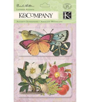 K & Company Flora & Fauna Layered Accents-25PK/Botanical Butterflies