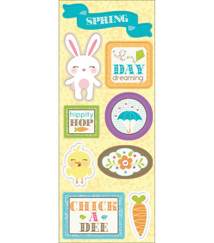 """Chipboard Stickers 4.75""""X12""""-Bunny Day"""