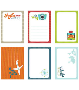 """Perfect Vacation Die-Cut Journaling Tags 3.5""""x2.5"""" 18/Pkg -Travel"""