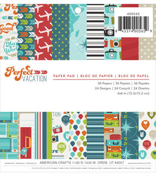 """Perfect Vacation paper Pad 6""""X6"""" 36/Sheets-Single-Sided"""