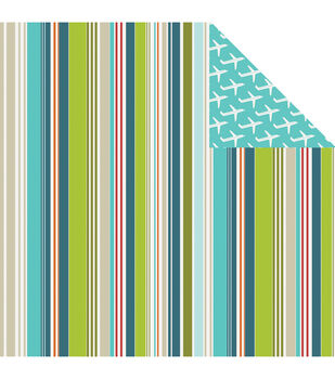 Imaginisce Random Stripes - Perfect Vacation Double Sided Cardstock