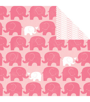 """My Baby Girl Double-Sided Cardstock 12""""X12""""-Pink Elephants On Parade"""
