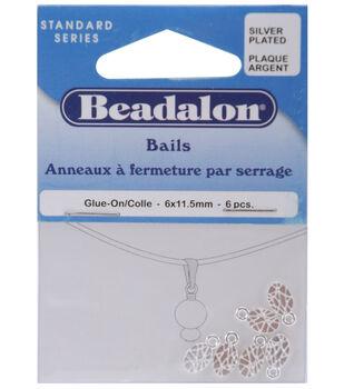 Beadalon Bails 6mmx11.5mm 6PK-Silver Plated