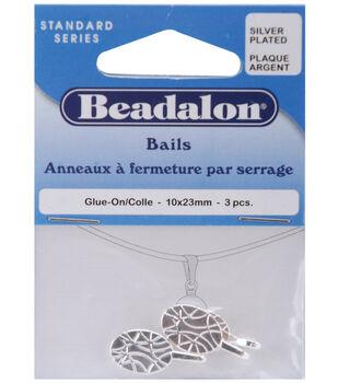 Beadalon Bails 10mmx23mm 3PK-Silver Plated