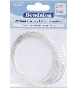 Beadalon Silver Plated Memory Wire Oval Bracelet.35 Oz/PK-Approx23Loops