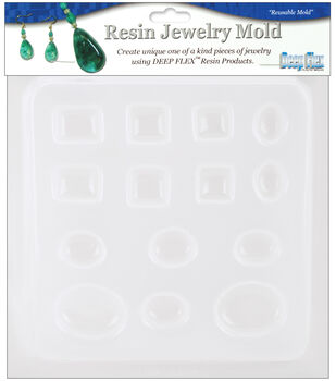 """Yaley Resin Jewelry Reusable Plastic Mold 6-1/2""""x7""""-Jewels 14 Shapes"""