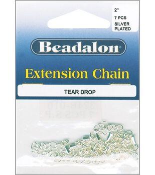 Beadalon 2'' Extension Teardrop Chain-7PK/Silver