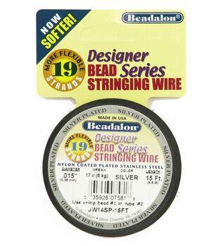 Beadalon 19 Strand .015'' Bead Stringing Wire-15FT/Silver