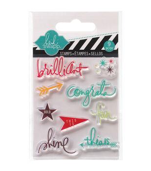 """Heidi Swapp Mixed Media Clear Mini Stamps 3""""X3.5""""-Brilliant"""