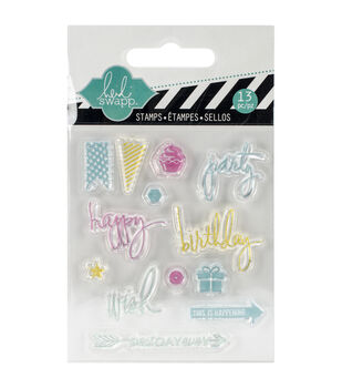 """Heidi Swapp Mixed Media Clear Mini Stamps 3""""X3.5""""-Party"""