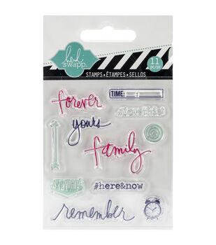"Heidi Swapp Mixed Media Clear Mini Stamps 3""X3.5""-Remember"