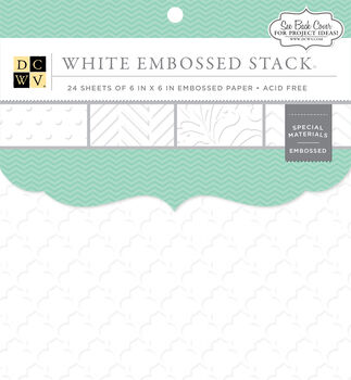 "DCWV 6""x6"" White Embossed Stack"