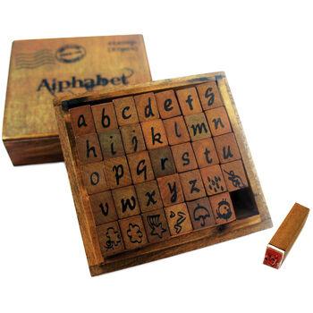 Bo Bunny Kraft Wood Alphabet Stamps Lower Case