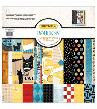 """Happy Tails Collection Pack 12""""X12""""-18 Double-Sided papers + Sticker Sheet"""