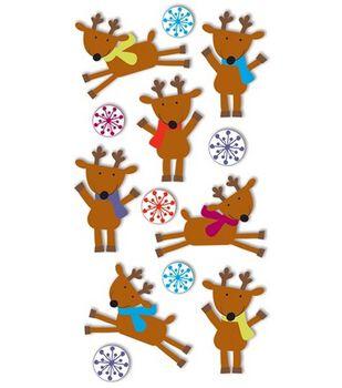 Dimensional Stickers-Reindeers & Snowflakes